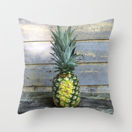 Pineapple Stripes on Weathered Wood Throw Pillow