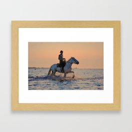Riding a Horse Through the Ocean Framed Art Print