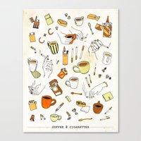 cigarettes Canvas Prints featuring Coffee & Cigarettes by Kat J. Weiss
