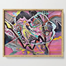 Pink Abstract Serving Tray