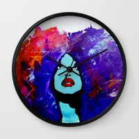 afro Wall Clocks featuring afro color by WITH MY HANDS
