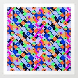 Colored Circle Quarters Art Print