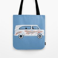 grease Tote Bags featuring Grease Van Lightning by Brandon Ortwein