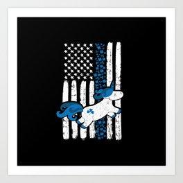 Thin Blue Line St Patricks Unicorn Police Art Print