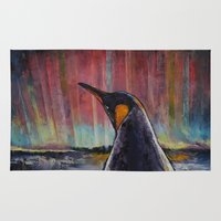 penguin Area & Throw Rugs featuring Aurora Penguin by Michael Creese