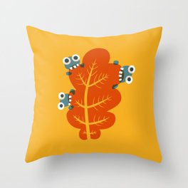 Cute Bugs Eat Autumn Leaf Throw Pillow
