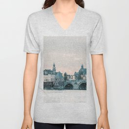 Winter view of the famous Dutch Sint Servaas bridge with lights in the city center of Maastricht Unisex V-Neck