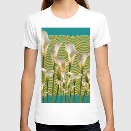 Teal Color Ivory Calla Lilies Garden Art T-shirt