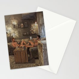 Two Guys One Couch Stationery Cards