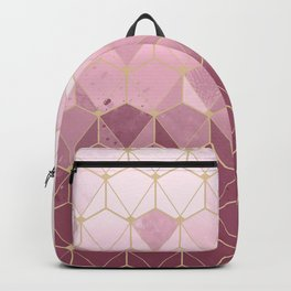 Pink gold geometric pattern Backpack