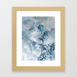 Blue Floral Botanical Watercolor Painting Framed Art Print