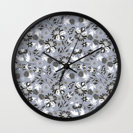 Victorian floral | slate gray Wall Clock