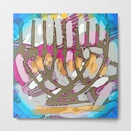 Hanukkah menorah light Metal Print