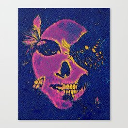 Skull and Butterflies Pink Canvas Print
