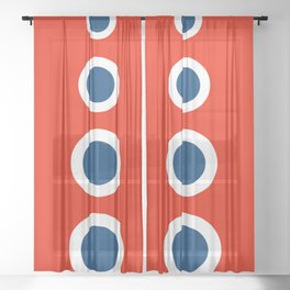 Retro Circles Pop Art - Red White Blue Series Sheer Curtain