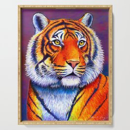 Colorful Bengal Tiger Portrait Serving Tray