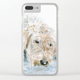 Sleepy Labradoodle Clear iPhone Case
