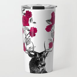 The Stag and Roses   Red Travel Mug