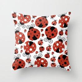 Ladybugs (Ladybirds, Lady Beetles) - Red Black Throw Pillow