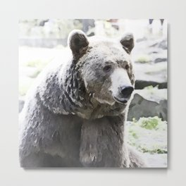 WColor Bear Metal Print