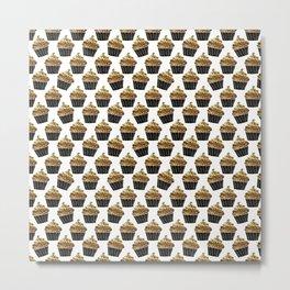 Black gold abstract modern sweet cupcake pattern Metal Print