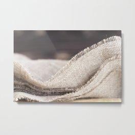 Natural linen tablecloth Metal Print