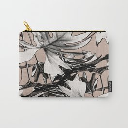 Leaf in Pink and Charcoal Gray Carry-All Pouch
