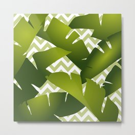 Banana Leaves and Chevron Pattern Green and White Metal Print
