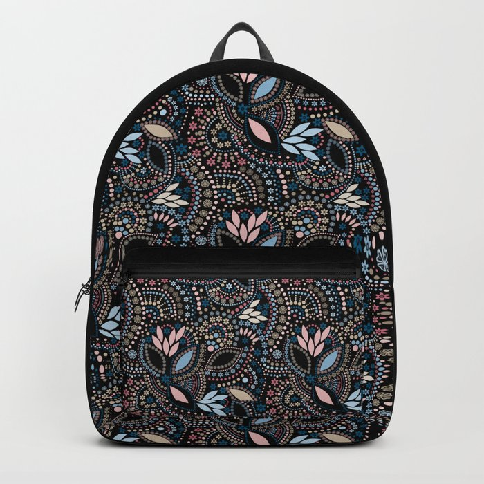 Abstract pattern with beads on black Backpack