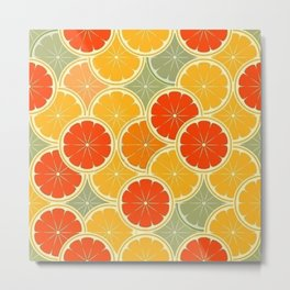 Summer Citrus Slices Metal Print