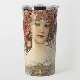 Alphonse Mucha - F. Champenois Imprimeur-Editeur, 1898 Travel Mug
