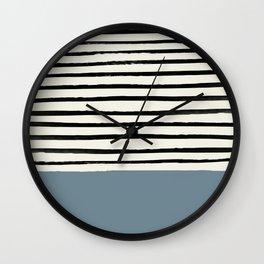 Dusty Blue x Stripes Wall Clock