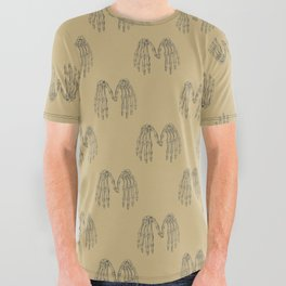 Antique Skeleton Hands Pointillism Drawing All Over Graphic Tee