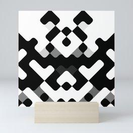 Hip Black And White Round Squares Mosaic Pattern Mini Art Print