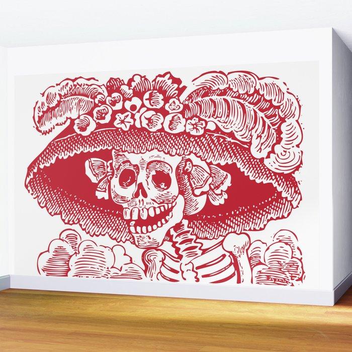 Calavera Catrina | Skeleton Woman | Red and White | Wall Mural