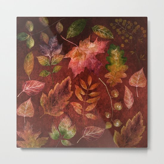 My favorite color is october- Colorful autumnal leaves pattern Metal Print