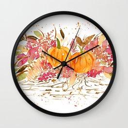 Watercolor Pumpkins Wall Clock