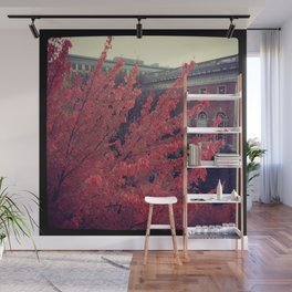 Library in Red Wall Mural
