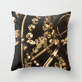 Sepia Tone Photograph Abstract Sparkly Crystal Chandelier Feminine Print Throw Pillow