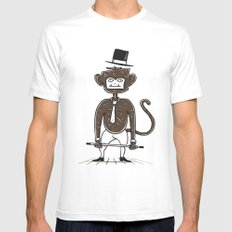 A fu*king tap dancing monkey SMALL White Mens Fitted Tee