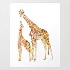 Mother and Baby Giraffes Art Print