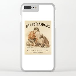 Be Kind To Animals 3 Clear iPhone Case