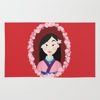 mulan Area & Throw Rugs featuring Mulan  by Joey Ellson