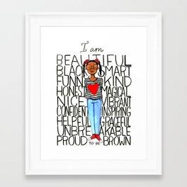 Proud to be brown (girl) Framed Art Print