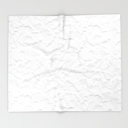 White crumpled paper Throw Blanket