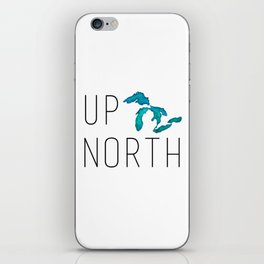 UP NORTH with watercolor great lakes iPhone Skin
