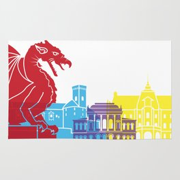 Ljubljana skyline pop Rug