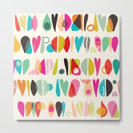Abstract Heart and Love Girly Chic Pattern Metal Print