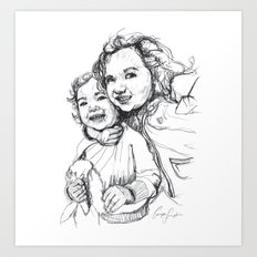 Digital Drawing #29 - Gia and Teo (blk&wht) Art Print