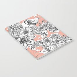 B&W Flowers Coral Notebook